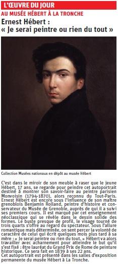 copie de l'article du Dauphiné libéré sur un auto portrait d'Hébert © Dauphiné Libéré