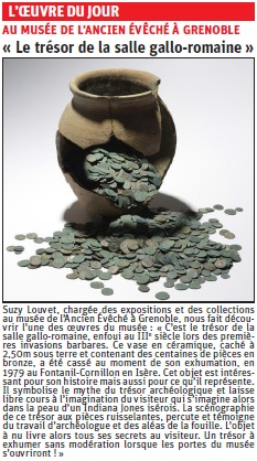copie de l'article du Dauphiné libéré sur un trésor monétaire © Dauphiné Libéré