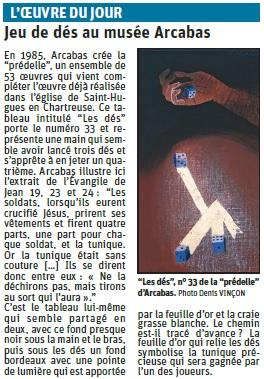 Copie de l'article du Dauphiné libéré sur un jeu de dé du musée Arcabas © Dauphiné Libéré