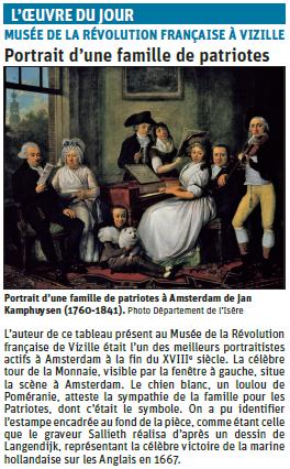 """Copie de l'article du Dauphiné Libéré sur un tableau du Domaine de Vizille """"une famille de patriotes"""" © Dauphiné Libéré"""