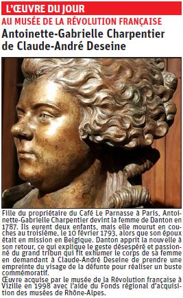 Copie de l'article du dauphiné Libéré  sur le buste de AG Charpentier © Dauphiné libéré