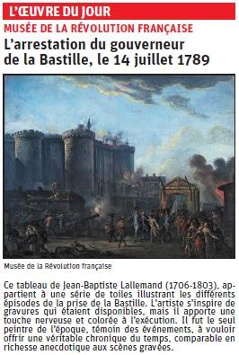 Copie de l' Article du Dauphiné Libéré  sur une oeuvre de JB Lallemand © Dauphiné Libéré
