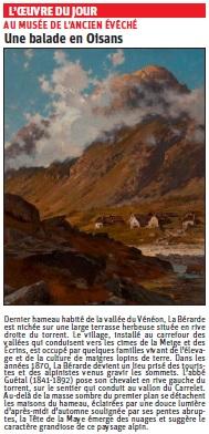 Copie de l'article du Dauphiné Libéré sur une peinture de l'Oisans © Dauphiné Libéré