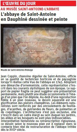 Article du dauphiné Libéré  sur une représentation du bourg de St Antoine © Dauphiné Libéré