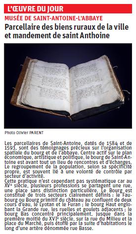 Copie de l'article du Dauphiné Libéré ur un parcellaire, collection Musée de saint Antoine l'abbaye © Dauphiné Libéré