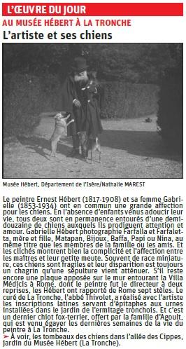 Copie de l'article du Dauphiné Libéré sur une photo de G. Hébert représentant le peintre (Musée Hébert) © Dauphiné Libéré