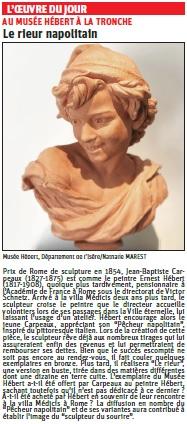 Copie de l'article du Dauphiné Libéré sur une sculpture de JB Carpeaux (Musée Hébert) © Dauphiné Libéré