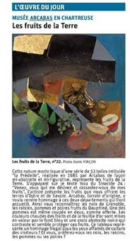 """Copie de l'article du Dauphiné Libéré ayant pour titre """"les fruits de la terre"""" © Dauphiné Libéré"""