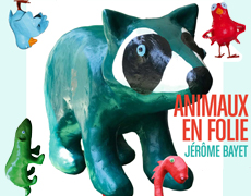 Affiche d'Animaux en folie, le raton-laveur en papier mâché