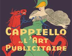 Affiche de l'exposition Cappiello. Une femme vêtue d'une robe verte monte un cheval rouge.