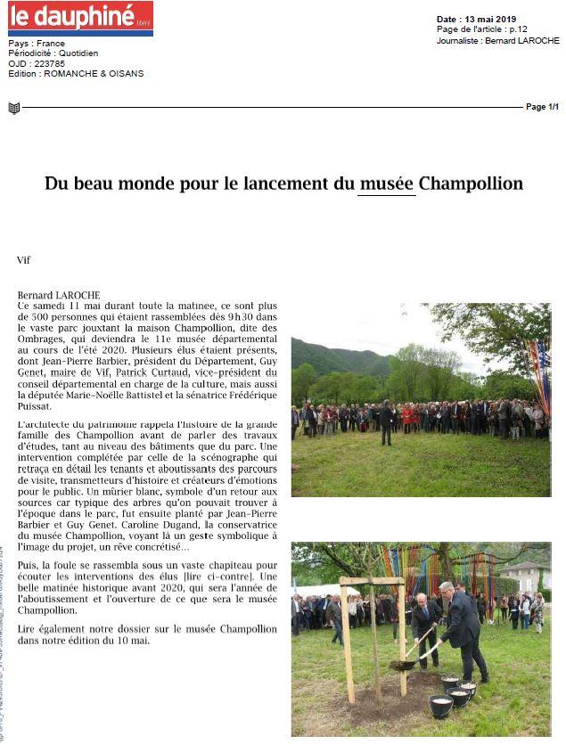 Dauphiné libéré Pose Première Pierre 13 05 2019