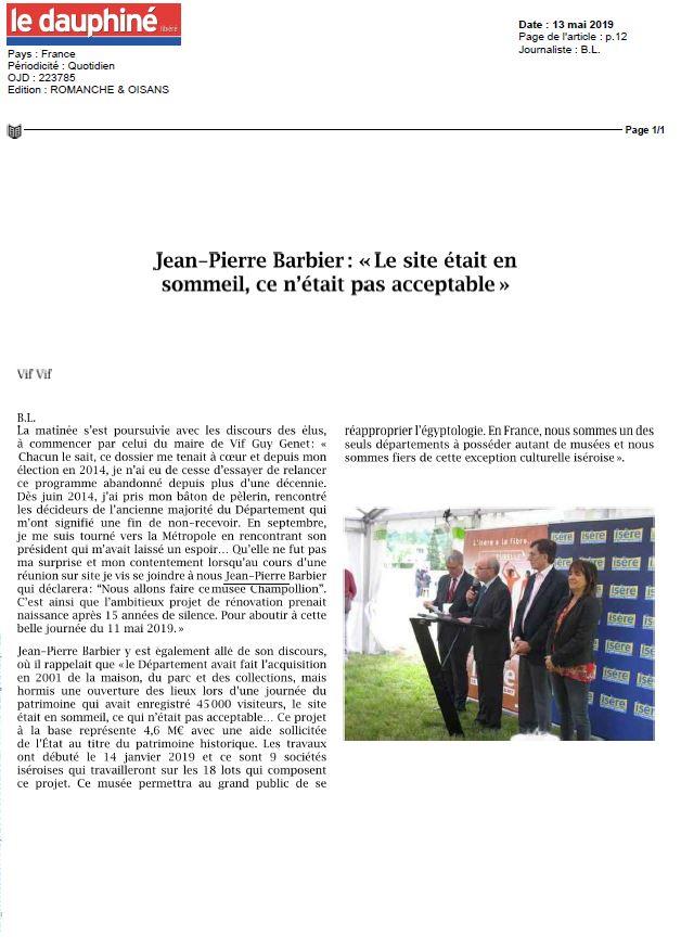 Dauphiné Libéré Pose Première Pierre 13052019