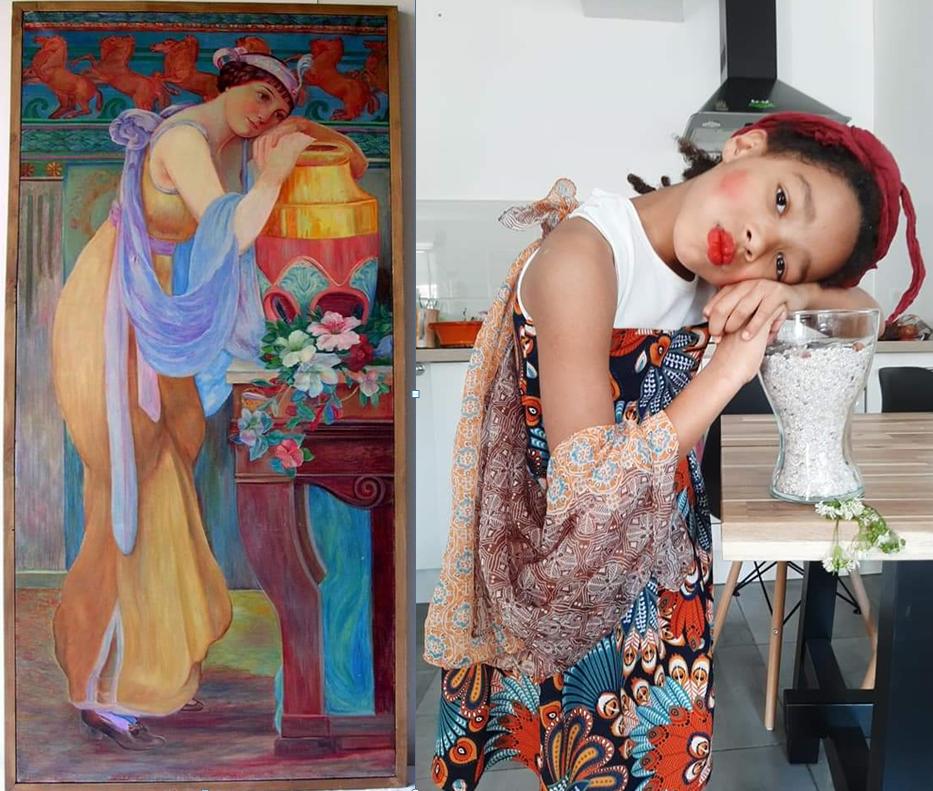 reproduction du tableau Noémie à la robe jaune de la Maison Bergès _ Challenge Tussen Kunst & quarantaine