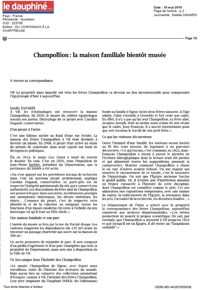 Dauphiné Libéré Pose de la première pierre 10052019