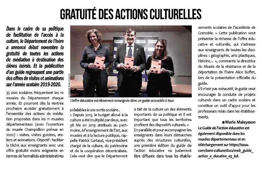 Article L'essor de l'Isère - La gratuité des actions culturelles