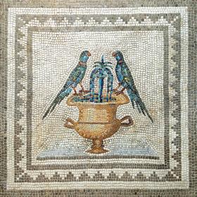 Mosaique aux perruches