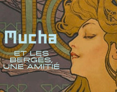 """Affiche de l'exposition temporaire reprenant une affiche d'Alfons Mucha créée en 1900 qui représente une femme aux longs cheveux, vue de profil avec l'inscription JOB à l'arrière-plan.  Les lettres M,U,C,H,A bleus clairs sont disposées en vertical, entrelacées dans les volutes de la chevelure.  Les dates de l'exposition sont présentes en bas de l'affiche : """"Prolongation jusqu'au 3 février 2019, exposition revisitée""""."""