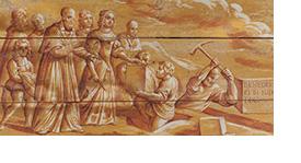 Pose de la première pierre du monastère de Sainte-Marie d'en-Haut par François de Sales et Christine de France en 1619. Décor peint sous la tribune de la chapelle