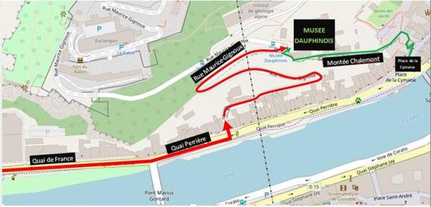 Plan d'accès au musée dauphinois en voiture
